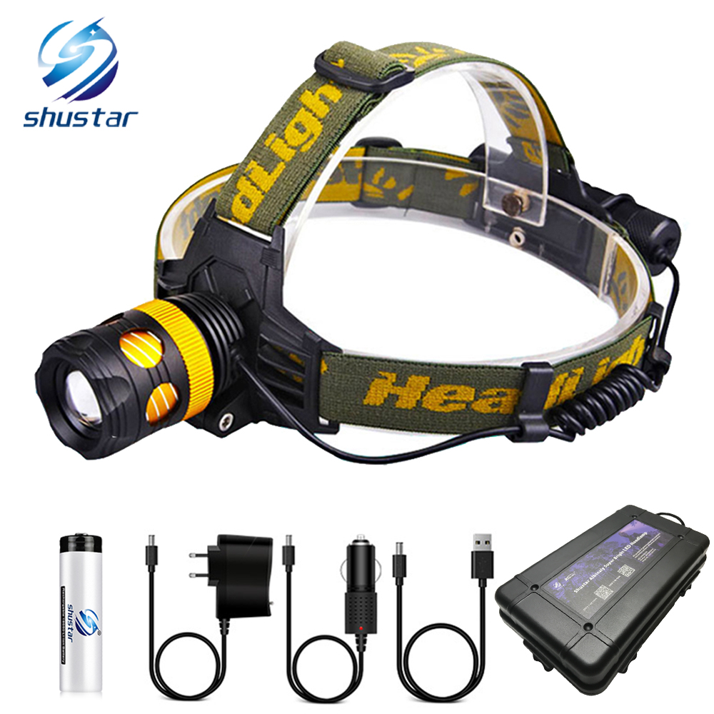 Super Bright LED Headlamp Waterproof LED Headlight Rotary Zoom 3 Lighting Modes Camping Lamp Detachable Into A Flashlight