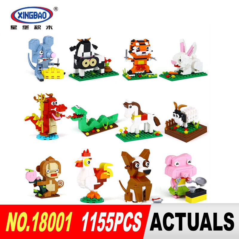 XingBao 18001 1155Pcs The Chinese Zodiac Set Building Blocks Bricks Funny DIY Educational Toys For Children As Birthday Gifts