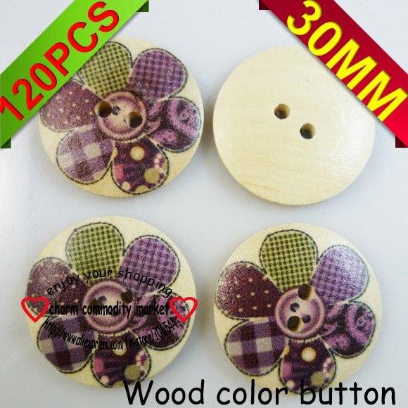 ᗑNuevo 120 unids patrón de flores botón de madera del color de ...
