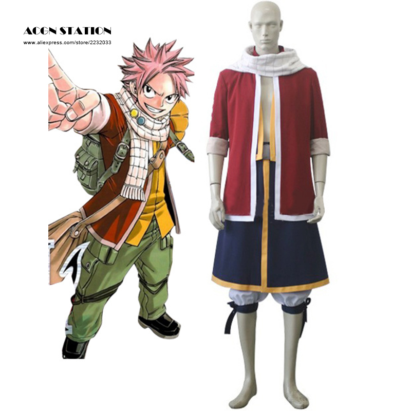 2018 ACGN STATION Free Shipping Anime Fairy Tail Natsu Dragneel Halloween Cosplay Costumes Red Tail Coat