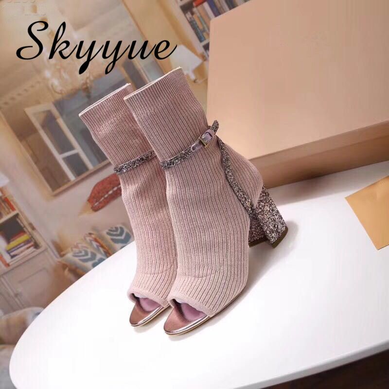 SKYYUE New Stretch Fabric Pink Beige Women Autumn Spring Boots Sexy Open Toe Glitter Bling Bling HIgh Heels Brand Shoes Women brand new open toe ankle boots ladies shoes sexy slingbacks high heels platform shoes women boots spring autumn free shipping page 10