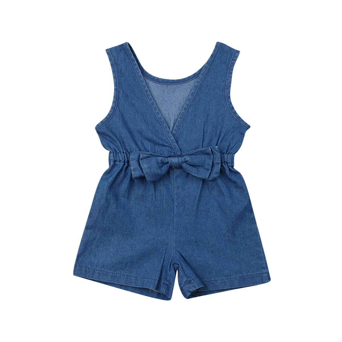 Toddler Kids Baby Girls Denim Romper Shorts Jumpsuits Playsuit Outfit Clothes Boy Girl Outfit Clothes Solid cowboy