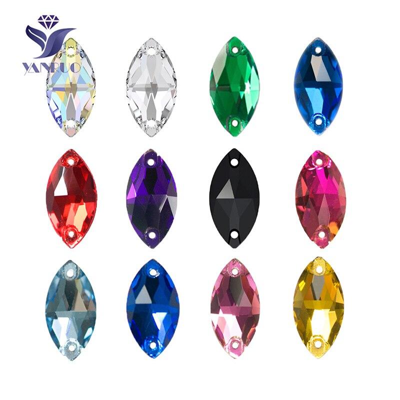 YANRUO 3223 Navette Cheval Yeux Forme Coudre Sur Cristal Verre plat retour Strass AAAAA Qualité Pierres Pour Les Vêtements