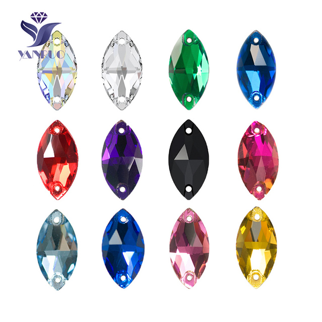 54e3097805 US $6.23 10% OFF|YANRUO 3223 Navette Horse Eyes Shape Sew On Crystal Glass  flat back Rhinestones AAAAA Quality Stones For Clothes -in Rhinestones from  ...