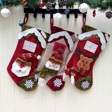 New Year Christmas Stocking Santa Claus Sock Gift Candy Bag Xmas Noel Decoration Gift for Kids Christmas Tree Ornaments Supplies(China)