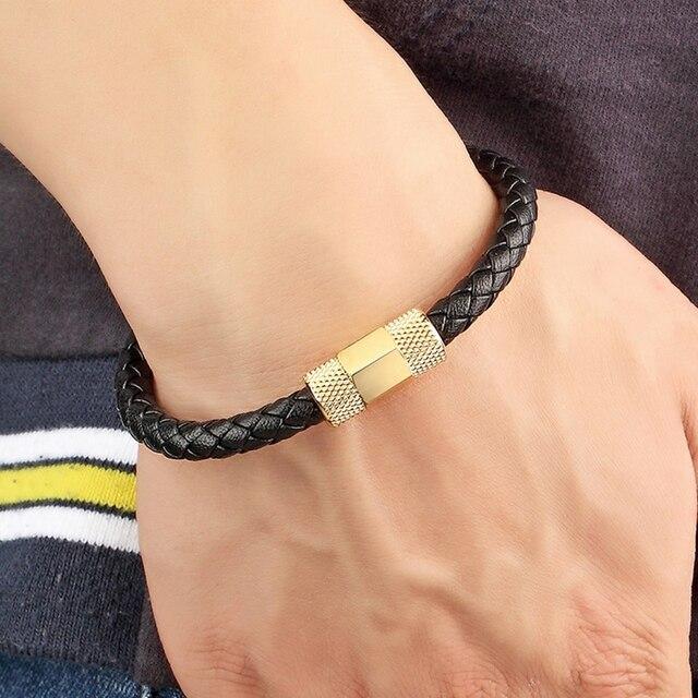 новый мужской браслет из нержавеющей стали модный черный кожаный фотография