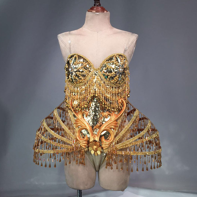 Gold Sexy Crystal beads Bodysuit Dress Stage Performance Bling Dresses Dance Wear Nightclub Shining Costume Outfit in Chinese Folk Dance from Novelty Special Use