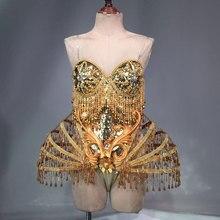 купить Gold Sexy Crystal beads Bodysuit Dress Stage Performance Bling Dresses Dance Wear Nightclub Shining Costume Outfit по цене 19667.43 рублей