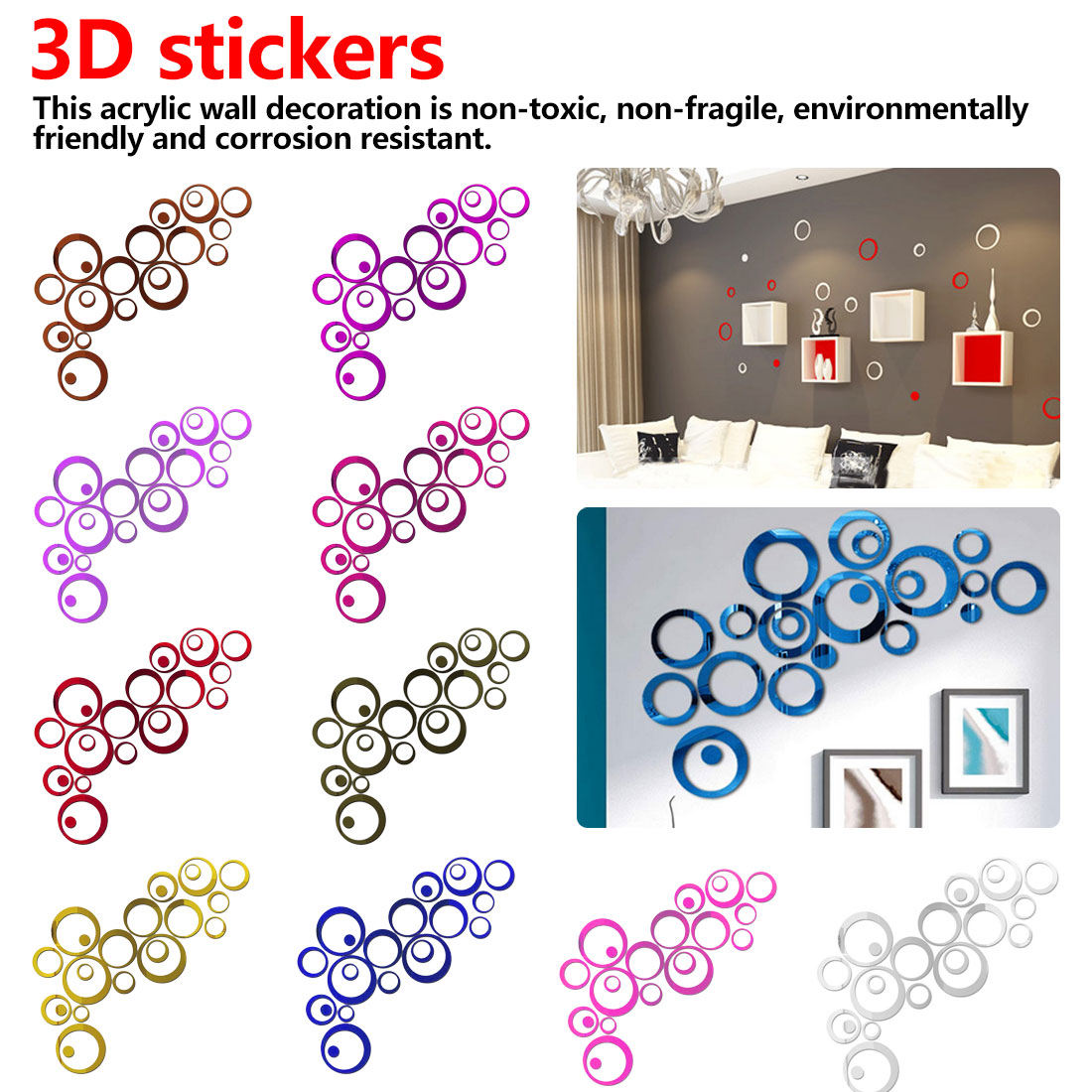 Bedroom Wall Stickers DIY Circles Stickers Indoors Decoration Stereo Removable 3D Art Wall Stickers  Background Wall Stickers