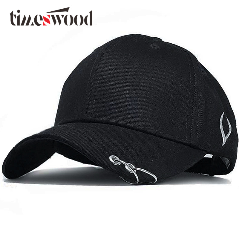 2018 New Creative Branded Baseball Caps With Rings Hoop Hip Hop Punk Caps Club Bone Logo Black White Men Women Hat Summer Autumn