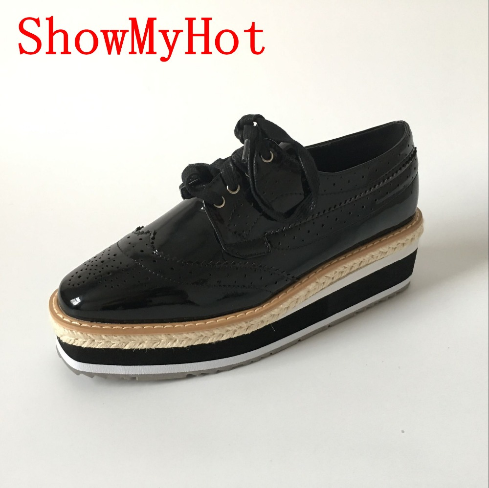 ShowMyHot Brand Spring Women Platform Shoes Woman Brogue Patent Leather Flats Lace Up Footwear Female Flat