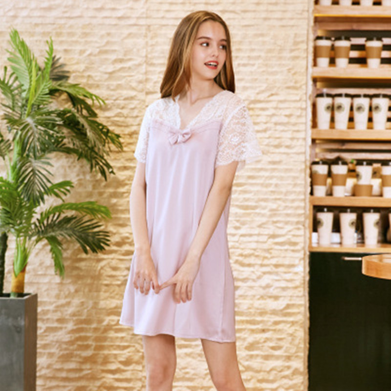 YI RAN SHI NI new silk sexy ladies sleep skirt fashion lace splicing summer home dress.
