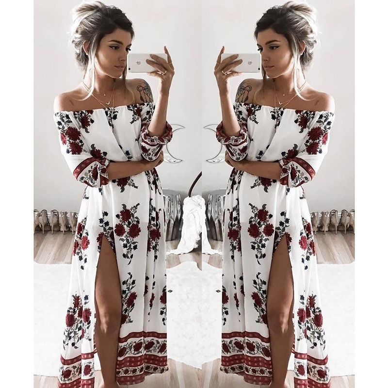 La MaxZa Floral Printed Thigh Slit Beach Womens Dress Chiffon Middle Sleeve Empire Oversized Maxi Dresses Vestidos De Fiesta