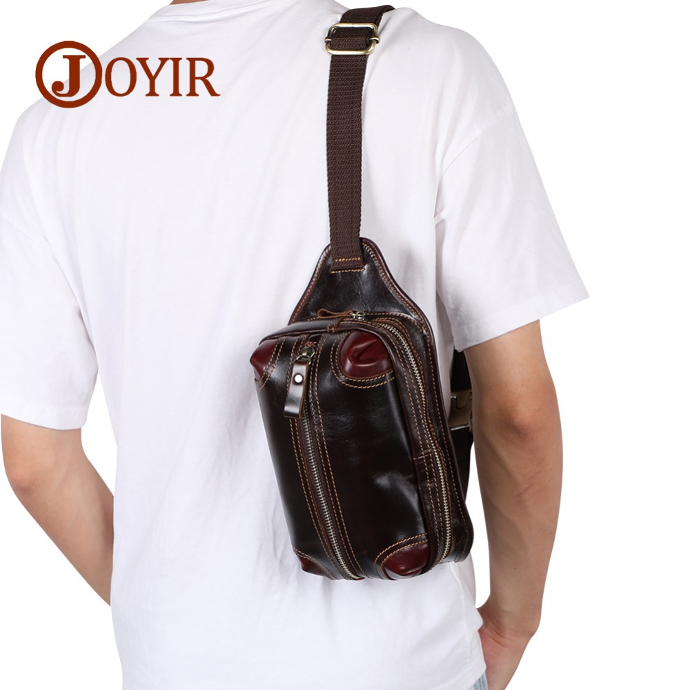 JOYIR New Summer Bag Men Chest Pack Single Shoulder Strap Back Bags Leather Travel Men Crossbody Bags Vintage Chest Bag For Men
