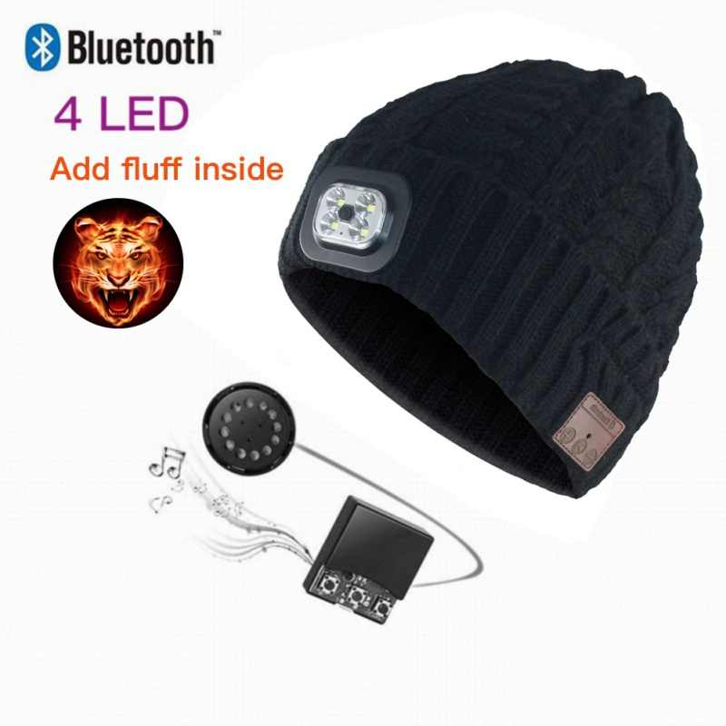 Fashion Mic Headphone Music Smart Caps Beanie Knitted Plus Velvet Winter Hat With LED Headset Wireless Bluetooth Earphone Cap