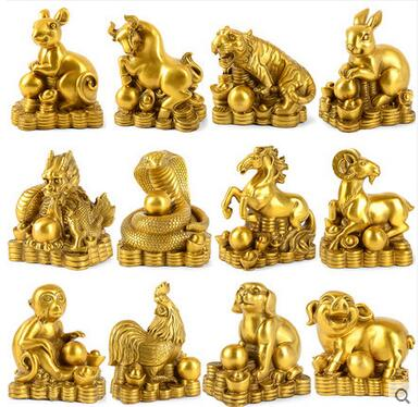 Copper ornaments twelve zodiac rat ox tiger rabbit is a snake horse sheep monkey chicken dog pig crafts