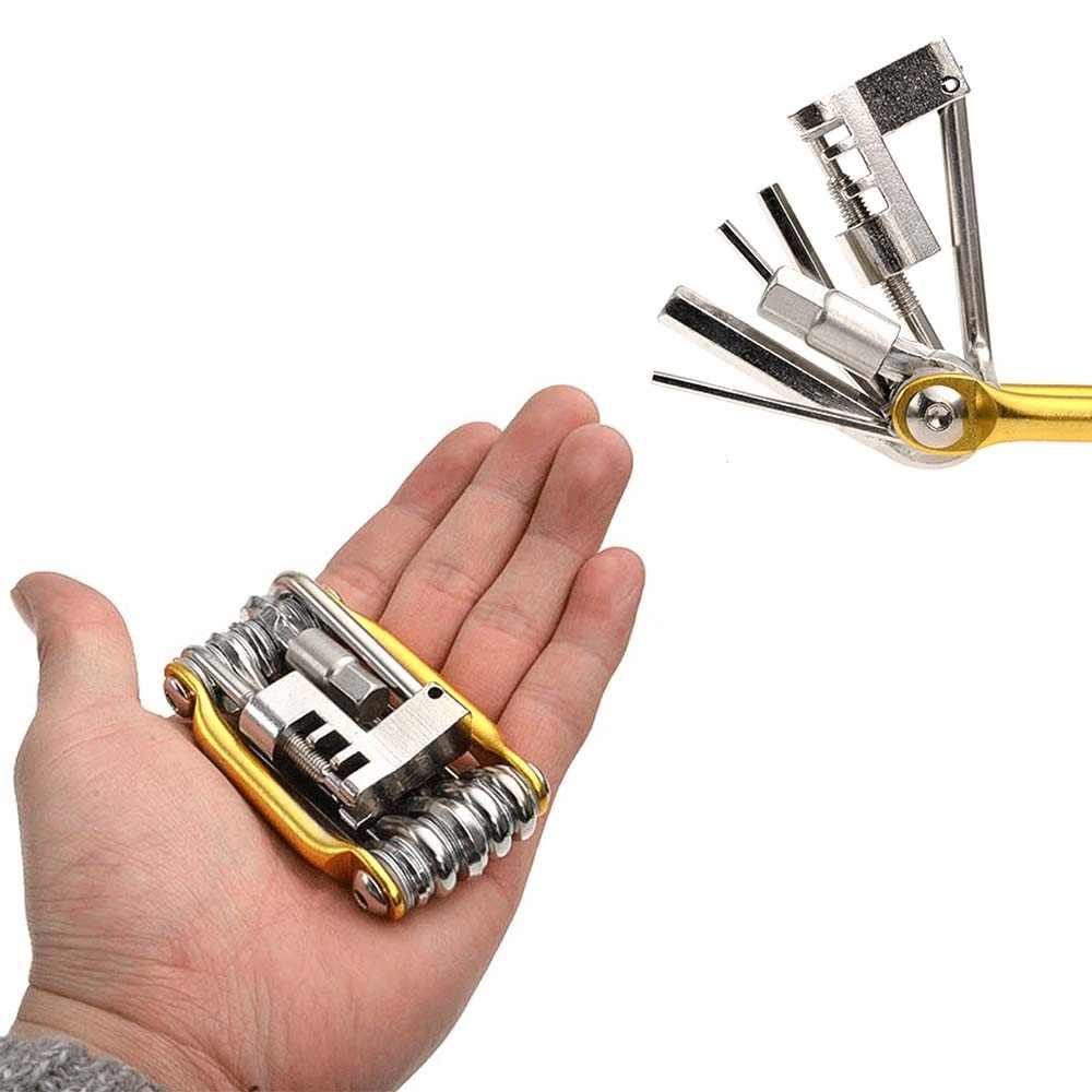 Kit de reparación de neumáticos de bicicleta plegable de bolsillo 11 en 1, juego de herramientas de cadena de destornillador para bicicleta EDC