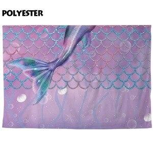 Image 4 - Fotografia allenjoy tło fioletowy ogon syreny skala pod morzem tło dekoracja na urodziny photocall sesja zdjęciowa prop
