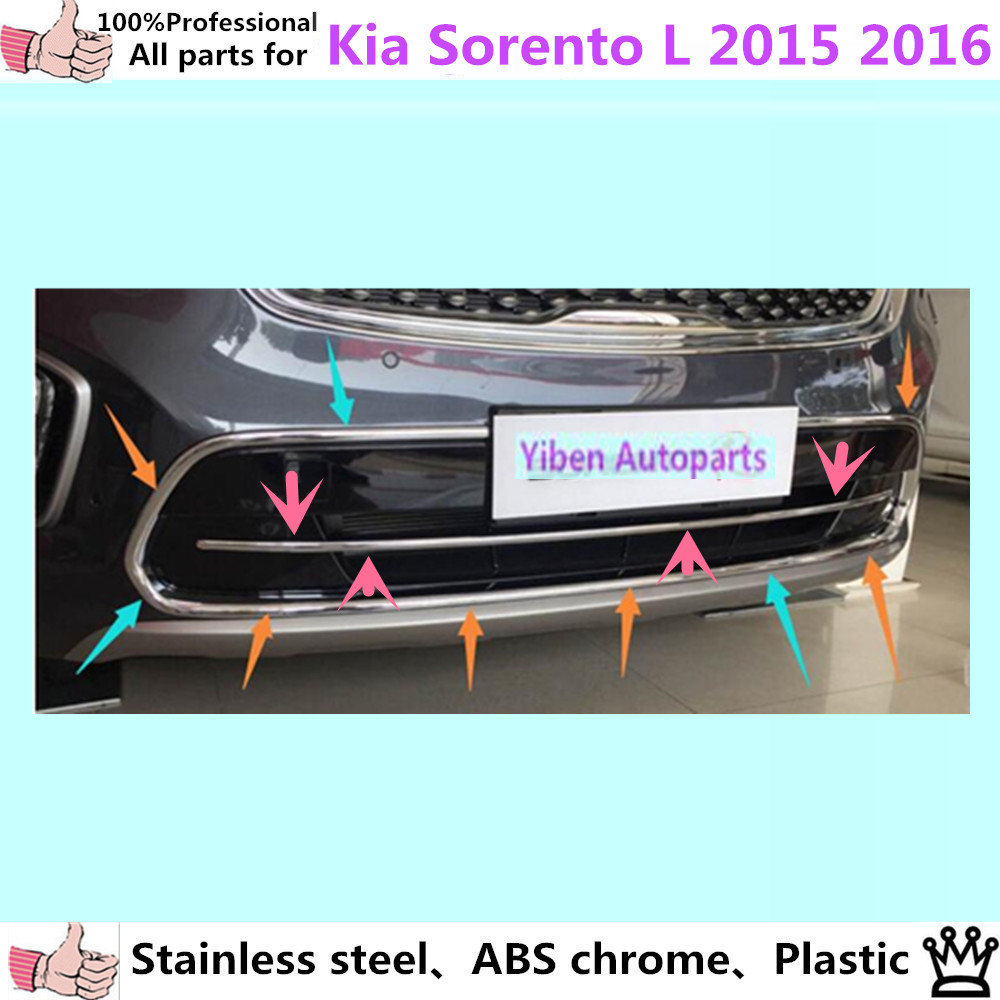 For Kia Sorento L 2015 2016 car body protection ABS chrome License plate trim front racing Grid Grill Grille hoods panel frame  цены онлайн