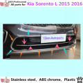 For Kia Sorento L 2015 2016 car body protection ABS chrome License plate trim front racing Grid Grill Grille hoods panel frame