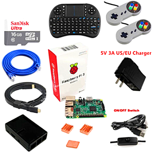 Raspberry Pi 3 Model B 16GB RetroPie Game Console Kit with 2pcs SNES Gamepads Controllers