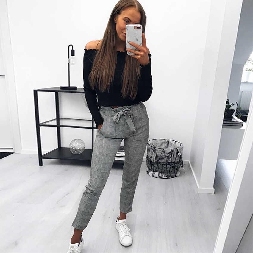 2019 nieuwe mode vrouwen Engeland plaid broek dames casual broek zomer bodems