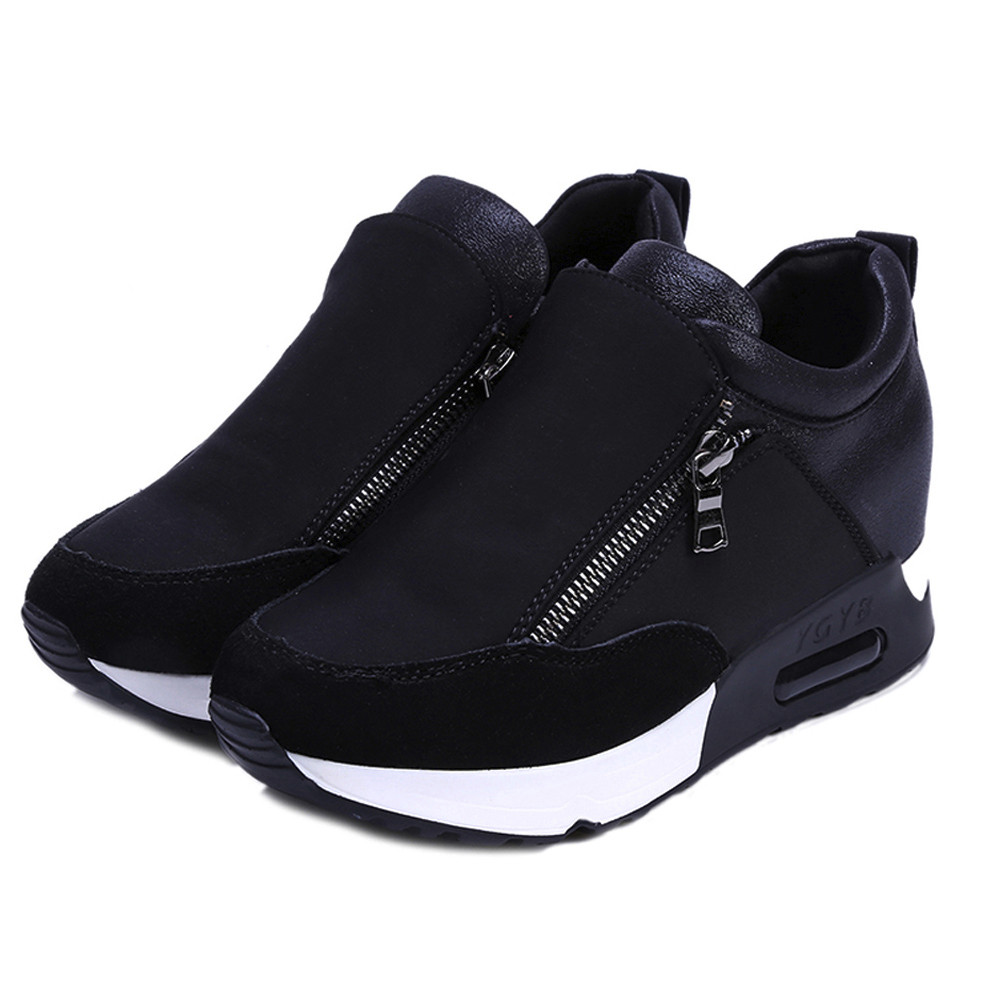 2018 Running Wandelen Dikke Bodem Platform Wiggen Schoenen Vrouw sport Sneakers Lente Herfst Mode Dames zwart studenten schoenen