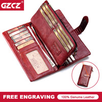 GZCZ Large Capacity Genuine Leather Card Holder Quality Wallet Long Women Walet Zipper Clutch Casual Zipper