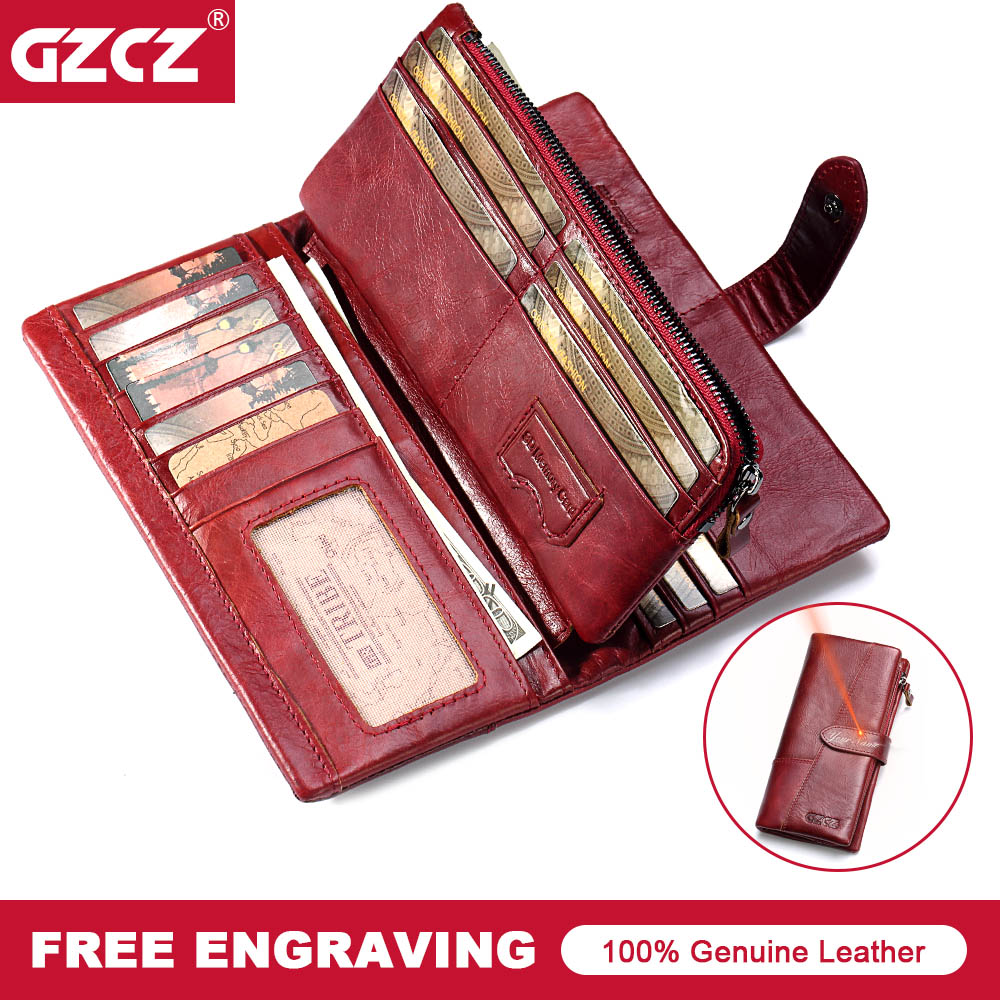 GZCZ Large Capacity Genuine Leather Card Holder Quality Wallet Long Women Walet Zipper Clutch Casual Zipper Retro Purse Female zuoyi crocodile leather original zipper snap multifunctional in large capacity and long wallet