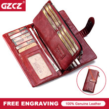 GZCZ Large Capacity Genuine Leather Card Holder Quality Wallet Long Women Walet Zipper Clutch Casual Zipper Retro Purse Female