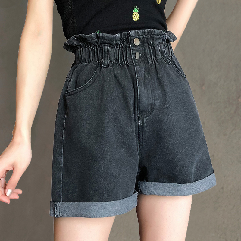 YuooMuoo 2019 Summer Black Women Casual Jeans Shorts Harajuku Elastic High Waist White Denim Shorts Vintage Pockets Short Femme