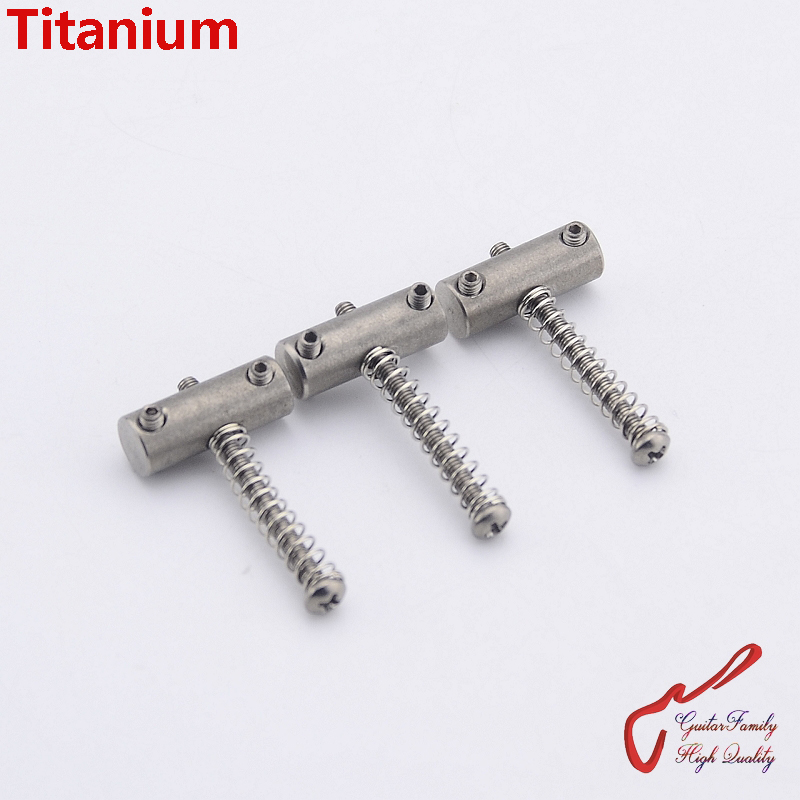 1 Set (3pcs) GuitarFamily Titanium Electric Guitar Fixed Bridge Saddle  ( #0225 )  MADE IN TAIWAN guitarfamily super quantity humbucker pickup fixed electric guitar bridge stainless saddle brass plate chrome made in korea
