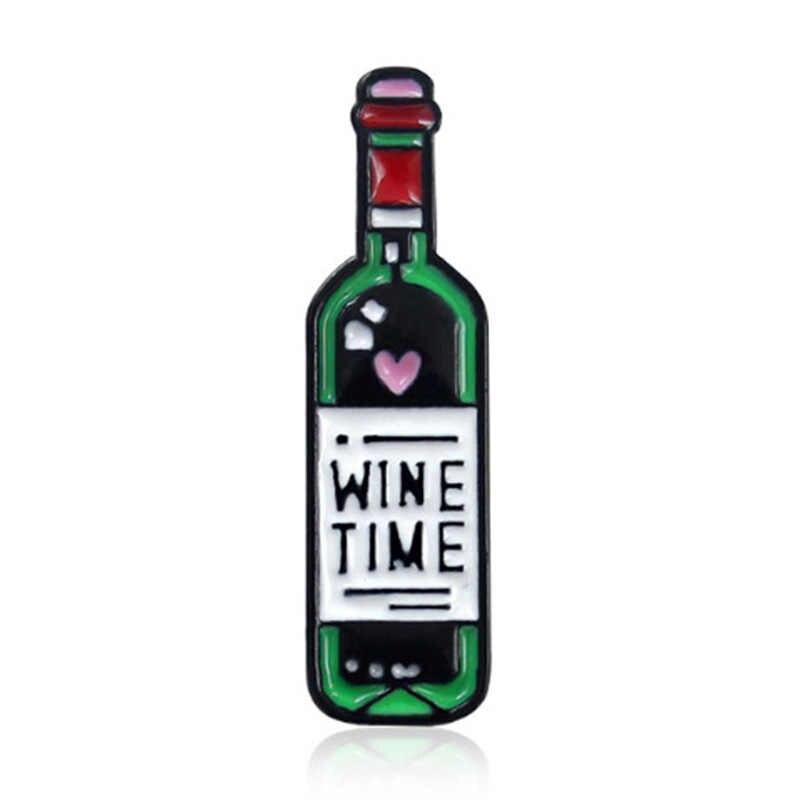 Broche de dibujos animados amantes de la insignia Pin vino rojo botella de vidrio esmalte Pin chaquetas de mezclilla Collar Pin solapa Pin princesa joyería regalo