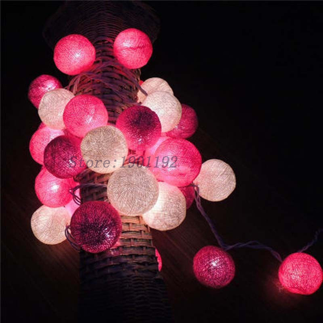 Thailand Fairy String Lights 35 Cotton Balls Guirlande Lumineuse Led Christmas Luces De Navidad Wedding Garden Patio Decoration