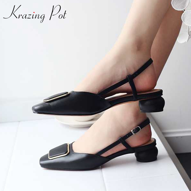 Krazing Pot summer genuine leather square toe square buckle decoration superstar med heels elegant slingback holiday