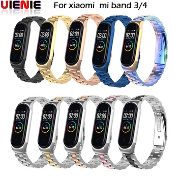 UIENIE Mi Band 4 Strap Metal Stainless Steel For Xiaomi Mi Band 3 Strap Compatible Bracelet Miband 3 Wristbands Pulseira Miband3