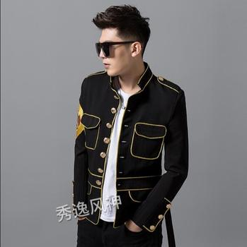men's new suit gold silk embroidered medal suit stand collar nightclub show small suit heavy work manual costumes