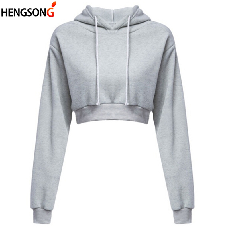 Fashion Women's Long Sleeve Hooded Top Black Grey Sweatshirt Ladies Harajuku Pullover Hoodies Sweatshirt