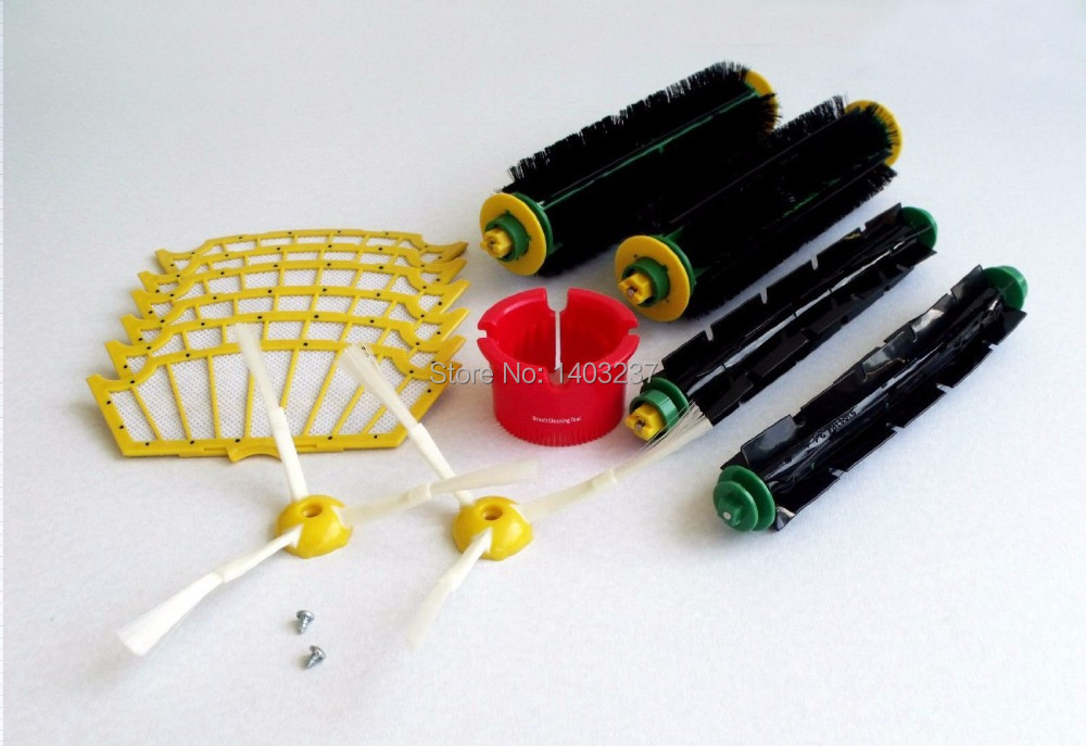 Bristle Brushes+Flexible Beater Brushes+3-Armed Side Brushes+Screw +Filters+Cleaning tool for iRobot Roomba 500 Series kit for irobot roomba 500 series vacuum cleaning robots bristle brushes flexible beater brush side brushes 6 armed screw filters