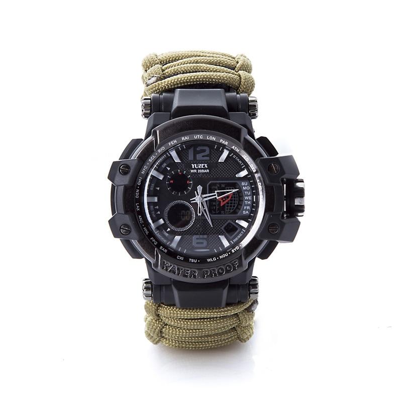 新的户外生存手表手链多功能防水50M手表男士女士露营远足军事战术露营工具(5)