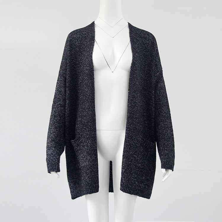 Sonbahar kış moda kadınlar uzun kollu gevşek örgü hırka kazak kadın örme kadın hırka çekin femme 048
