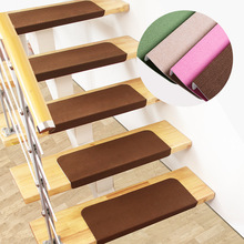 3pcs Solid Color Stair Carpet Sets Slip Resistance Stair Brown Mats Step  Rectangle Rugs Safe Treads