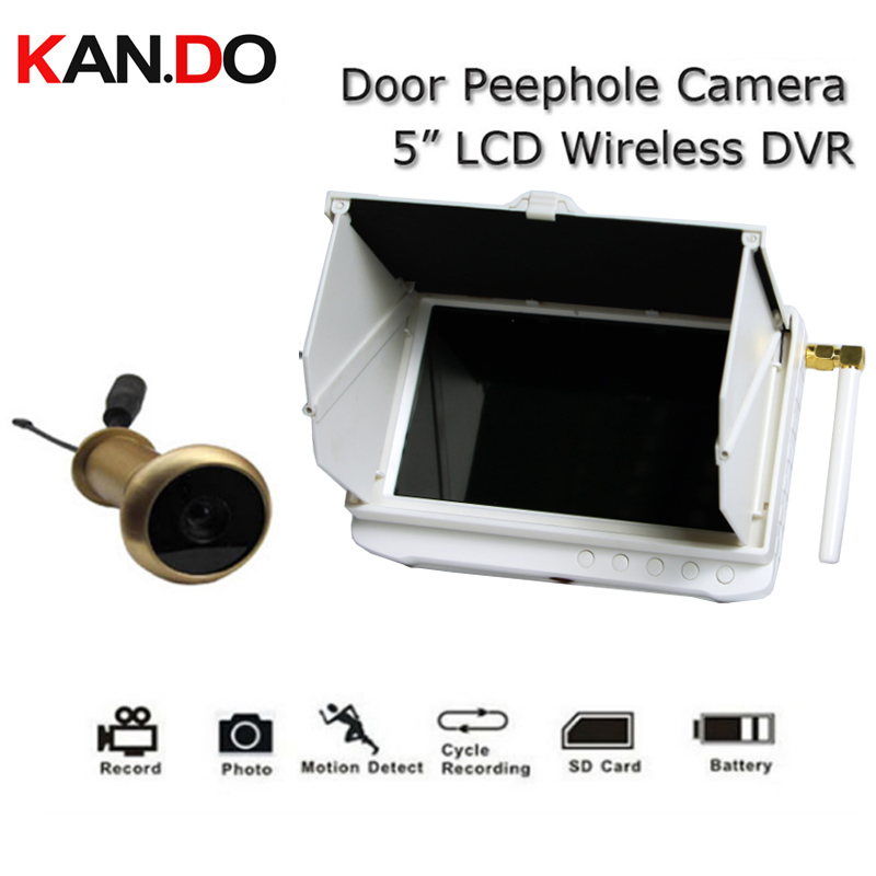 5.8G Wireless DVR Receiver With Or Without 90 Degree Door Peephole Camera Motion Detect Recording Monitor Camera 5inch DVR 5.8G