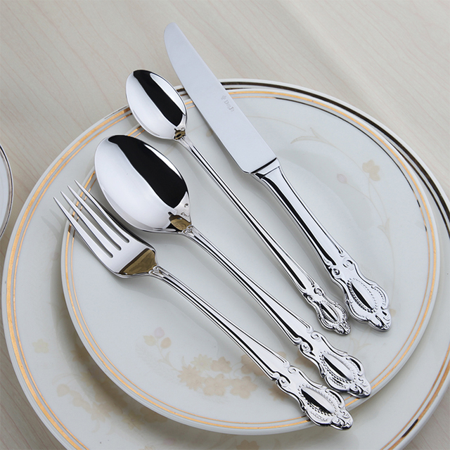 24 Pieces Stainless Steel Flatware Set Crown Handle Knives Fork Spoon Silverware Sets Wedding Cutlery