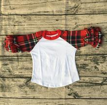 Girls Party New Design Blouse Top Shirt Boutique Plaid Long Sleeve Knit Icing Ruffle Children Raglan Shirt