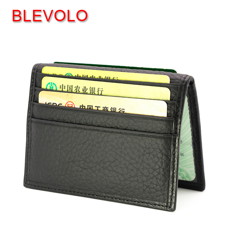 BLEVOLO Men Women Card Holder Genuine Leather Card Package Thin Driving Document Bag Multi-Card Bit ID Holders Cover Case Wallet