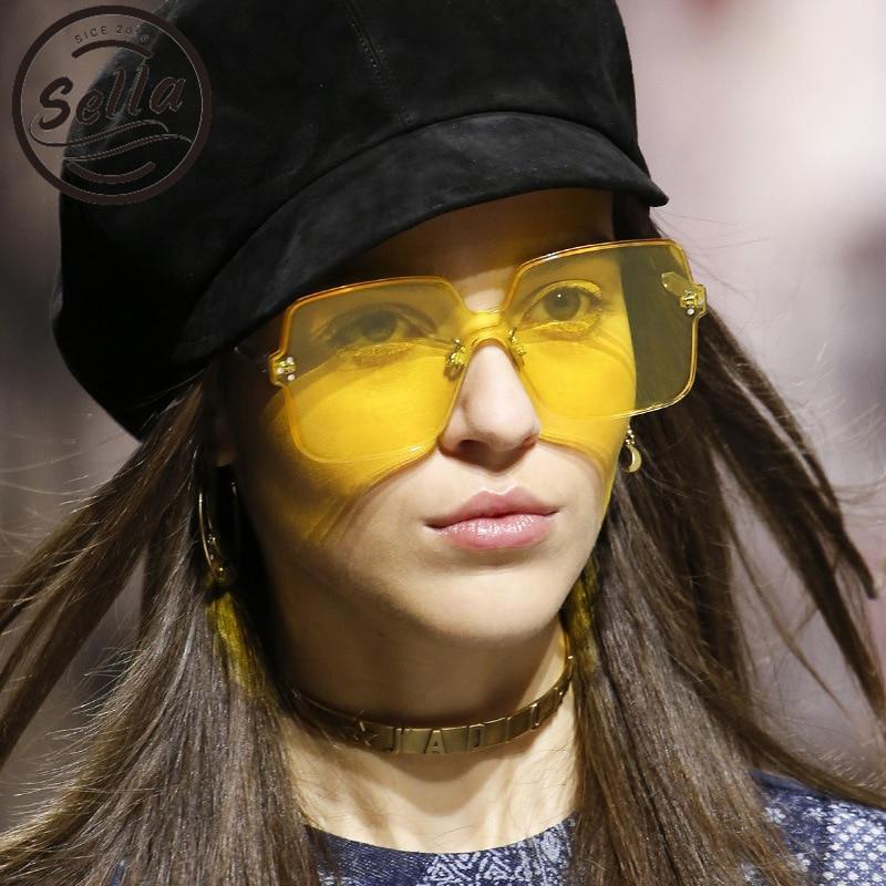 Sella New Fashion Candy Color Tint Lens Oversized Rimless Square Sunglasses Brand Designer Men Women Trending Red Yellow Eyewear