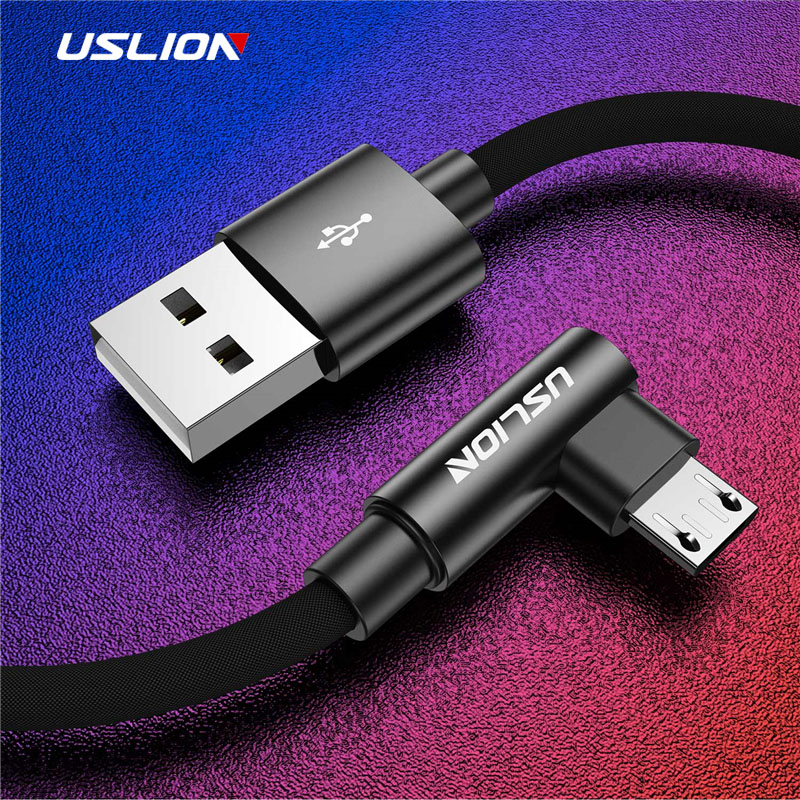 USLION 90 Degree Micro USB Cable For Samsung Xiaomi Huawei 2A Fast Charger Android Cable M