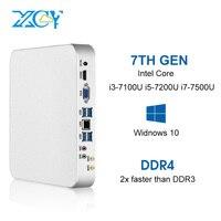 XCY X26 Мини ПК Intel Core i7 7500U i5 7200U i3 7100U 8 ГБ DDR4 240 ГБ SSD Windows 10 Linux 4 К UHD HTPC HDMI VGA 300 м Wi Fi