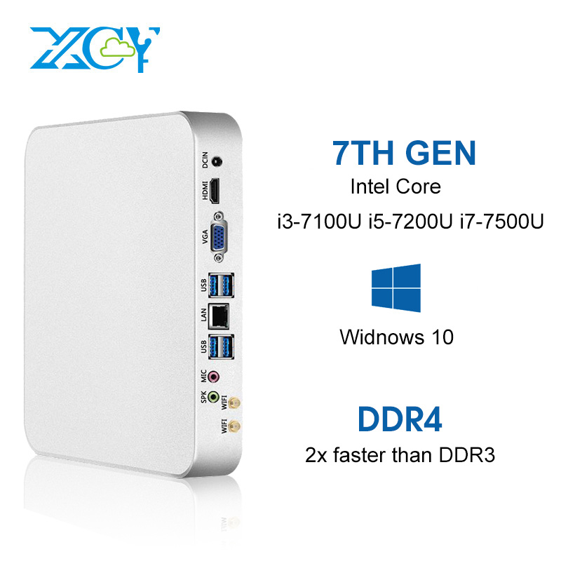 XCY X26 Mini PC Intel Core i7 7500U i5 7200U i3 7100U 8 gb DDR4 240 gb SSD Finestre 10 linux 4 k UHD HTPC HDMI VGA 300 m WiFi